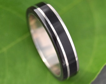 Un Lado Asi Coyol Wood Ring - Ecofriendly Wooden Ring with Recycled Silver Wedding Band, Wood Wedding Ring