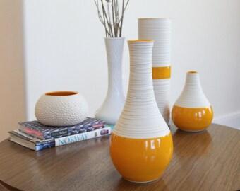 Tall Orange Bottle - Groove Vase in Orange - Orange Pottery