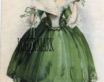 Marie Antoinette St.Patricks Day*Quilt art fabric blocks*Two 5x7