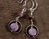 Charoite earrings rare genuine purple charoite stones and silver twisted ring handmade earrings