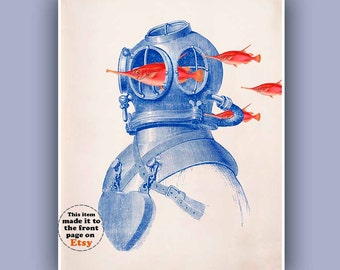 Fishes Diver Helmet Print,  Vintage images scuba diving helmet  and fish schooling print, steampunk print, Nautical art, beach house decor