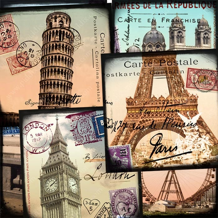Digital collage sheet World Tour in 2 x 2 inch squares