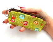 Small Coin Purse Mini Key ring Zipper Pouch ECO Friendly Padded Lip Balm Case Earbud Pouch  Green Hideout Owls