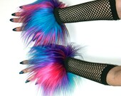 Furry Wrist Cuffs Multi-Color Hot Pink, Purple, Turquoise Blue Fuzzy Rave Hand Fluffies Warmers