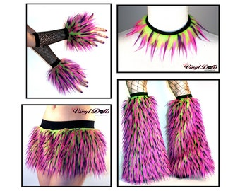 Monster Fur Combo Rave Outfit - Lime, Hot Pink, Purple - Furry Skirt, Cuffs, Leg Warmers, Collar