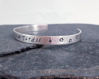 Accio Tardis Sterling Silver Cuff Bracelet - Harry Potter Meets Doctor Who, Lightening Bolt - Stars Cuff Bracelet