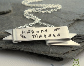 Hakuna Matata Banner Necklace // Hand Stamped Necklace // Inspirational and Unique Gift for HER // The Lion King Inspired