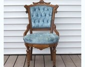 Victorian Eastlake Chair, Antique Carved Walnut Parlor Seat in Blue Velvet