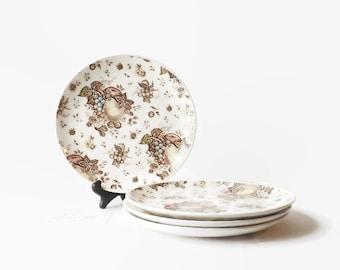 4 Vintage Nasco Fruit Festival Dinner Plates, Autumn Dining Table Decor, Brown Transferware