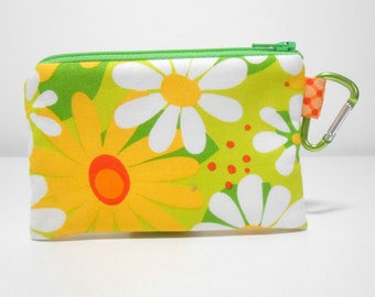 Carabiner Coin purse Lime and Yellow Tropical Floral