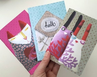 Set of 3 Small A6 Notebooks - Textile Art Designs Digitally Printed Journals