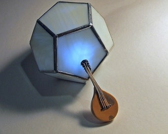 Stained Glass Pentagon Cube, Battery Operated Night Light, Unique Home Decor, Geometric Gift