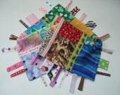 Sensory ribbon tag toy, ribbon tag I spy toy, car tag toy, travel security blanket, ribbon tag travel toy, ribbon tag shower gift toy RTS