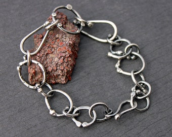 Sterling Silver Melange Linked Bracelet Freeform Shapes Heavy Links Metalworked Made to order
