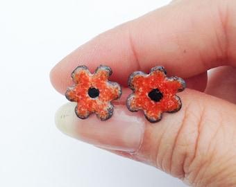 Orange Wild Flower Stud Earrings Handcrafted from Copper Silver and Enamel Sterling Silver Post Bohemian Earrings