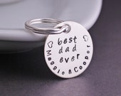 Personalized Keychain, Best Dad Ever Keychain, Personalized Dad Gift, Father's Day Gift, Father Sterling Silver Keychain, Father Gift
