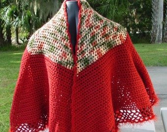 Red and Garden Blend Cape - Handmade Crochet - Wardrobe Accessory - Shawl