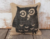 Owl -  Burlap Feed Sack Doorstop - Woodland Door Stop - Owl Decor