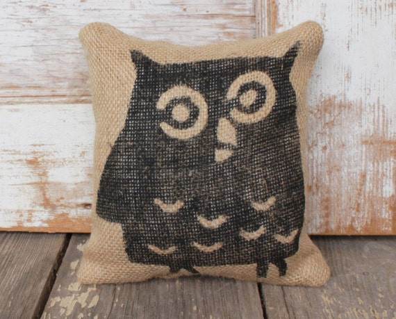 Owl -  Burlap Feed Sack Doorstop - Woodland Door Stop - Owl Decor