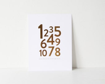 Numbers  - Gold Foil Art Print