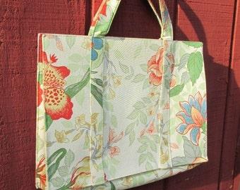 Vintage Margaret Smith Handbag Purse Blue Green Red Blue English Garden Flowers Spring Summer