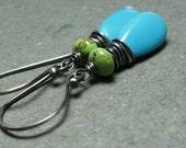 Turquoise Earrings Gaspeite Earrings Wire Wrapped Gemstone Earrings Oxidized Sterling Silver Earrings