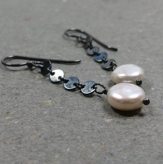 White Pearl Earrings June Birthstone Earrings Oxidized Sterling Silver Disc Chain Earrings