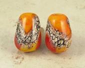 Teardrop Orange Lampwork Glass Bead Pair with Organic Web Small Warm Fire