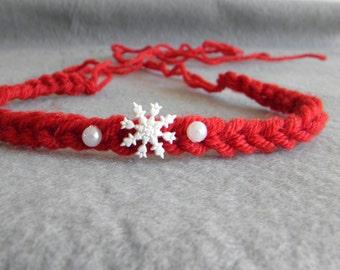 Newborn headband tie back christmas winter photo photography prop baby girl boy red festive crocheted halo white pearls snowflake RTS