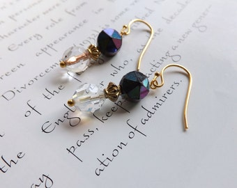 crystal earrings with vintage beads - gold earrings - violet studs and clear crystals - delicate earrings - sorcha crystal earrings