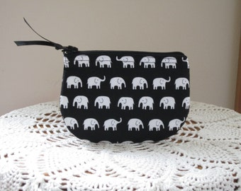 Coin Business Card Clutch Zipper Case White  Elephants on Parade in Black Made in the USA
