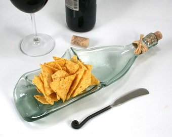 Light Blue Gray Frosted Wine Bottle XL Chip and Dip Snack Bowl with Cork and Raffia and Spreader - Recycled Eco-Friendly