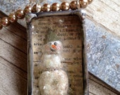 Snowman shadow box necklace