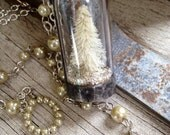Cream Winter Wonderland glass cloche necklace