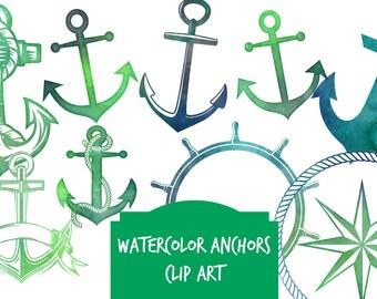 Instant download digital clip art - 7 high resolution watercolor ANCHOR clip art images