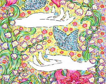 Art Print, Astrology, Zodiac, Gemini, Butterfly, Bohemian, Flowers, Spiritual, Mudra, Hands, Natural, Mystical, Wall Art, Gift, Universe