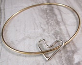 Gold Heart Bangle, Gold Filled Bangle with Sterling Silver Floating Heart Charm