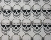"Alexander Henry White SKULLS cotton fabric  44"" wide x 1yd 16"" long"
