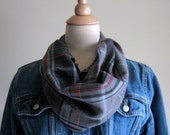 Scarf - Plaid Flannel Circle Scarf - Gray, Black, Red, Modern, Autumn, Winter, Woman Scarf, Teen Scarf, Camping, Hiking, Biking, Road Trip