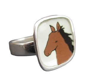 Enamel Horse Ring - Sterling Silver and Vitreous Enamel with Original Horse Drawing