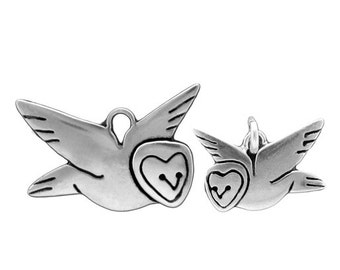 Mother Daughter Barn Owl Set - Set of Two Sterling Silver Owl Necklaces