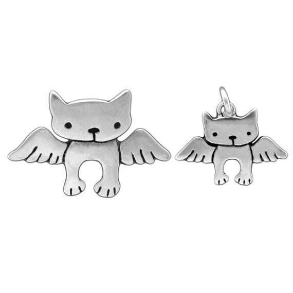 Mother Daughter Angel Cat Necklace Set - Set of 2 Sterling Silver Cat Pendants for Mother's Day or New Mom