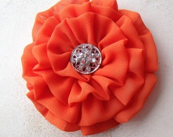 Orange Flower Hair Clip. Pin.  Bridesmaid. Headpiece. brooch. wedding. chiffon. Corsage. MANY COLORS AVAILABLE