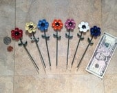 """Up-Cycled Metal: tiny 1 1/2"""" colorful painted Garden flower stake decorations by GmaJanisew"""