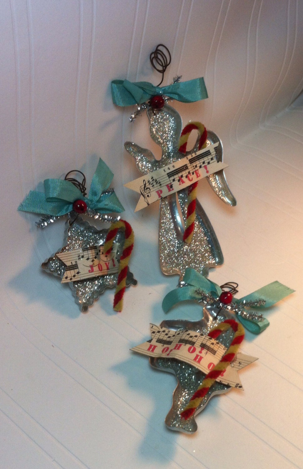 Vintage Cookie Cutter Glitter Ornaments