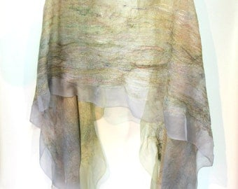 Felt Scarf-Shawl sheer cashmere-soft merino wrap on painted silk -  In Stock Fast Ship