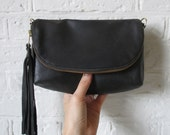 Distressed Black leather 3-in-1 cross body bag, clutch, or large wallet, small leather purse, ready to ship