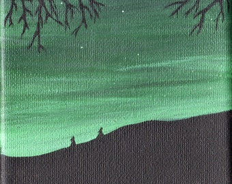 The Night Dances #1 Nocturnal landscape  Acrylic painting  4 x 4