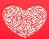Handmade Paper Cut Heart of Curves for Valentine's Day