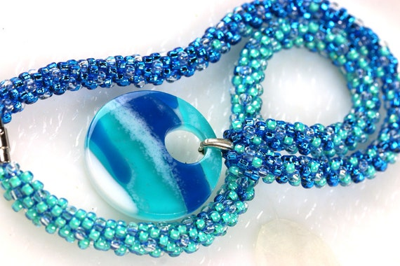 Ocean Blues Pendant Kumihimo Necklace Jewelry Fused Glass Pendant Dichroic Necklace 001174